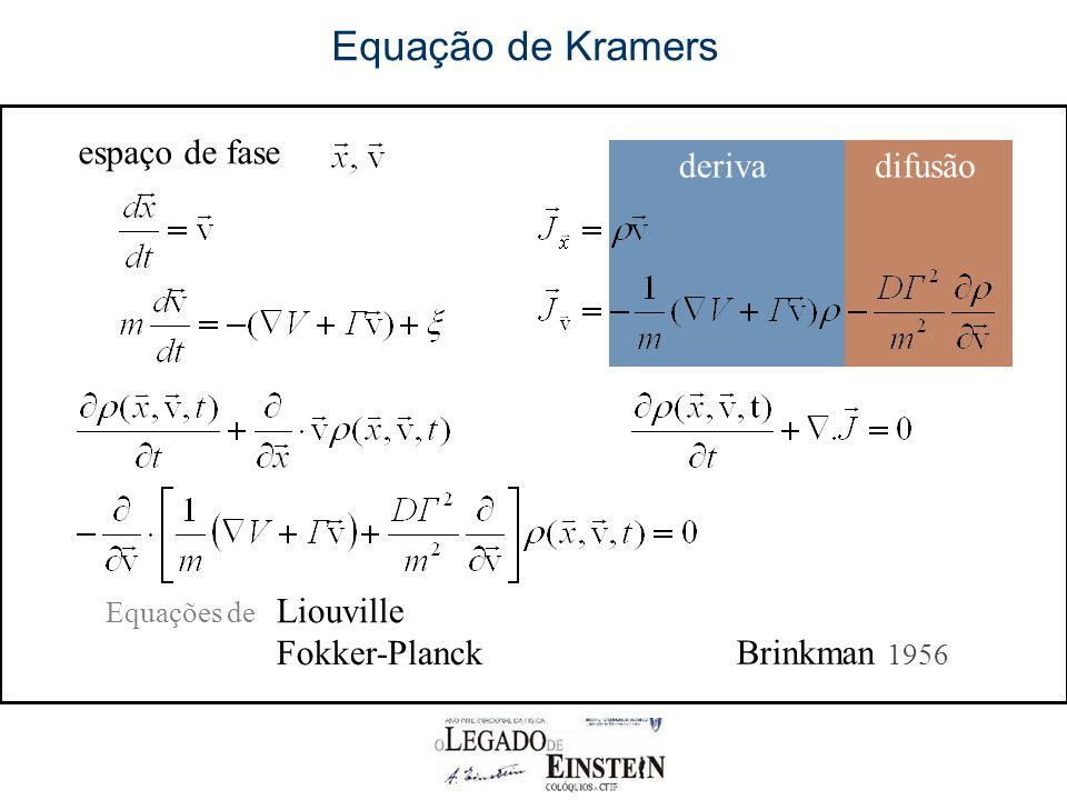 derivadifusão Equação de Kramers espaço de fase Equações de Liouville Brinkman 1956 Fokker-Planck