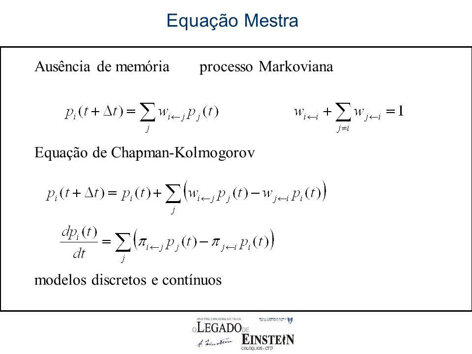 Equação Mestra Ausência de memóriaprocesso Markoviana Equação de Chapman-Kolmogorov modelos discretos e contínuos