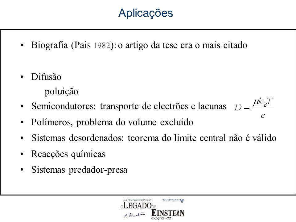 Aplicações Biografia (Pais 1982 ): o artigo da tese era o mais citado Difusão poluição Semicondutores: transporte de electrões e lacunas Polímeros, problema do volume excluído Sistemas desordenados: teorema do limite central não é válido Reacções químicas Sistemas predador-presa