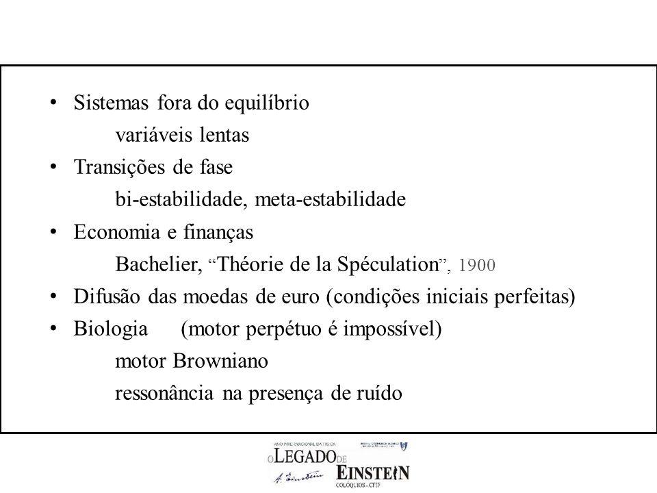 Sistemas fora do equilíbrio variáveis lentas Transições de fase bi-estabilidade, meta-estabilidade Economia e finanças Bachelier, Théorie de la Spéculation, 1900 Difusão das moedas de euro (condições iniciais perfeitas) Biologia(motor perpétuo é impossível) motor Browniano ressonância na presença de ruído