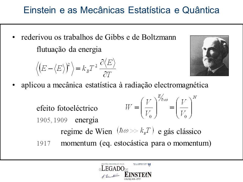 Einstein e as Mecânicas Estatística e Quântica rederivou os trabalhos de Gibbs e de Boltzmann flutuação da energia aplicou a mecânica estatística à radiação electromagnética efeito fotoeléctrico 1905, 1909 energia regime de Wien e gás clássico 1917 momentum (eq.