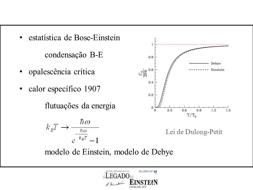 estatística de Bose-Einstein condensação B-E opalescência crítica calor específico 1907 flutuações da energia modelo de Einstein, modelo de Debye Lei de Dulong-Petit