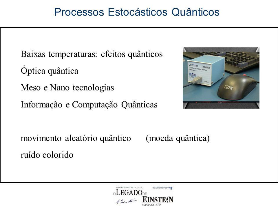 Processos Estocásticos Quânticos Baixas temperaturas: efeitos quânticos Óptica quântica Meso e Nano tecnologias Informação e Computação Quânticas movimento aleatório quântico(moeda quântica) ruído colorido