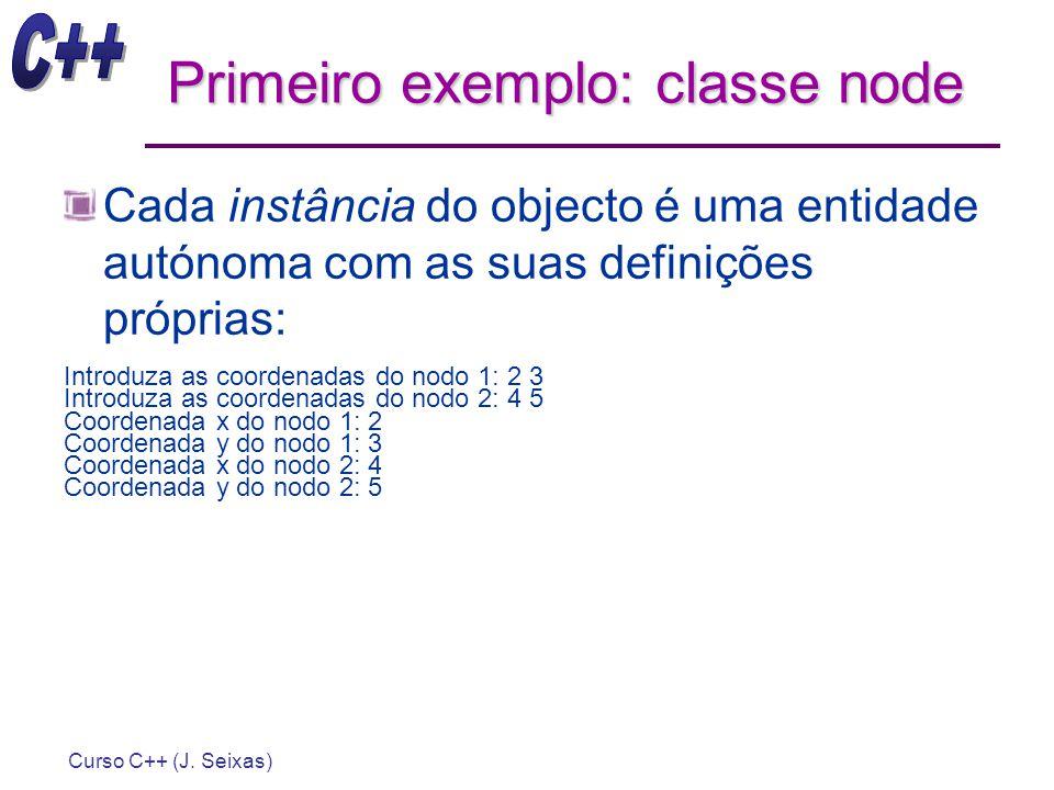 Curso C++ (J. Seixas) Primeiro exemplo: classe node Cada instância do objecto é uma entidade autónoma com as suas definições próprias: Introduza as co