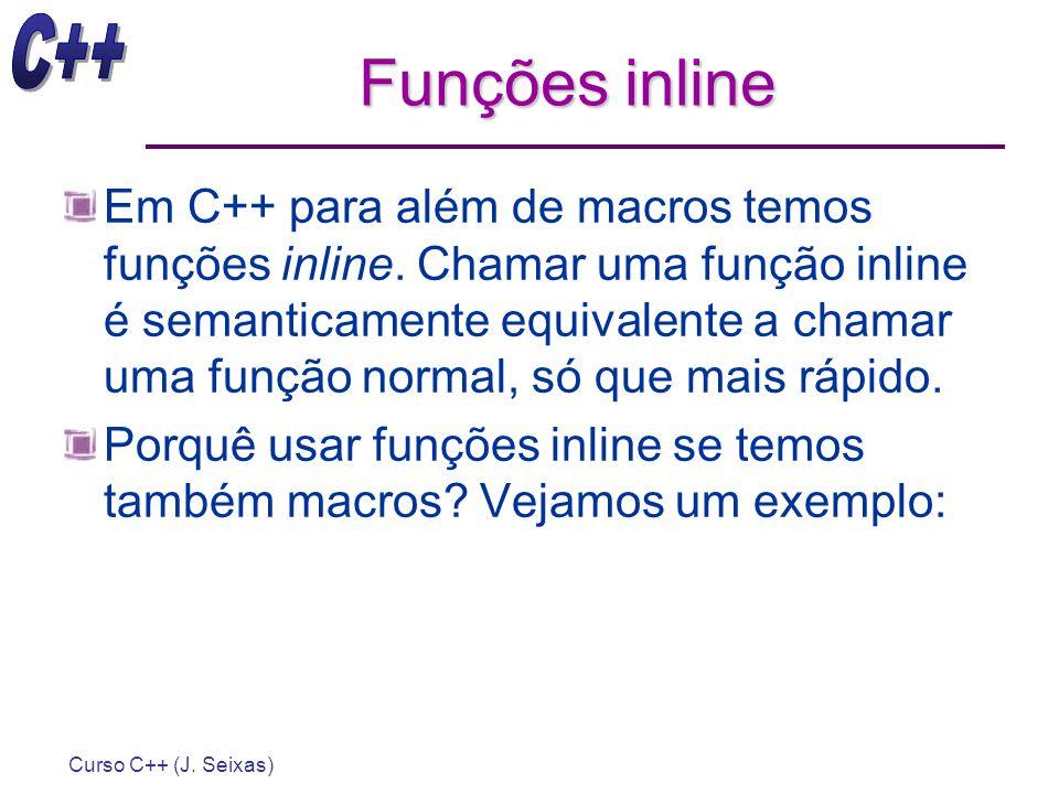 Curso C++ (J. Seixas) Funções inline Em C++ para além de macros temos funções inline. Chamar uma função inline é semanticamente equivalente a chamar u