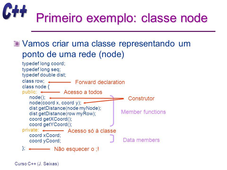 Curso C++ (J. Seixas) Primeiro exemplo: classe node Vamos criar uma classe representando um ponto de uma rede (node) typedef long coord; typedef long