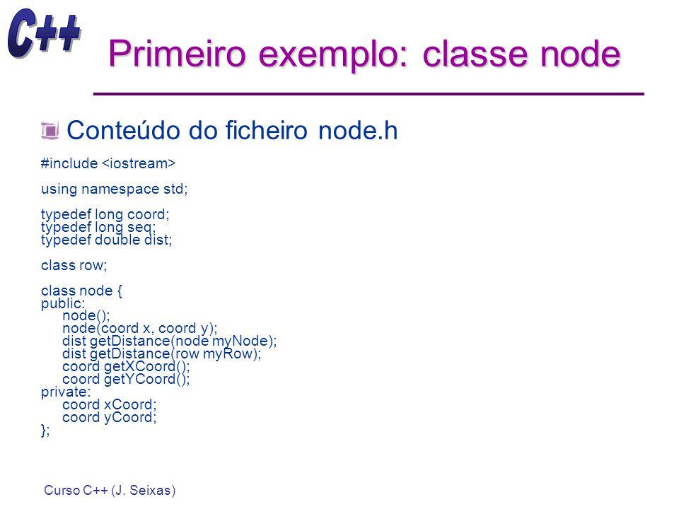 Curso C++ (J. Seixas) Primeiro exemplo: classe node Conteúdo do ficheiro node.h #include using namespace std; typedef long coord; typedef long seq; ty