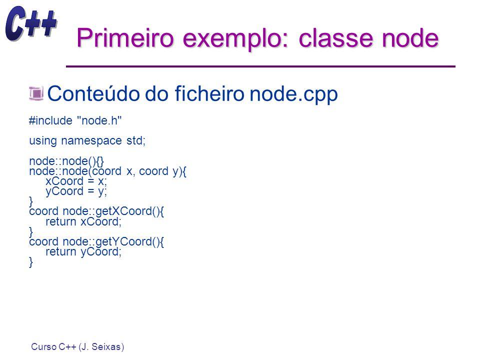 Curso C++ (J. Seixas) Primeiro exemplo: classe node Conteúdo do ficheiro node.cpp #include
