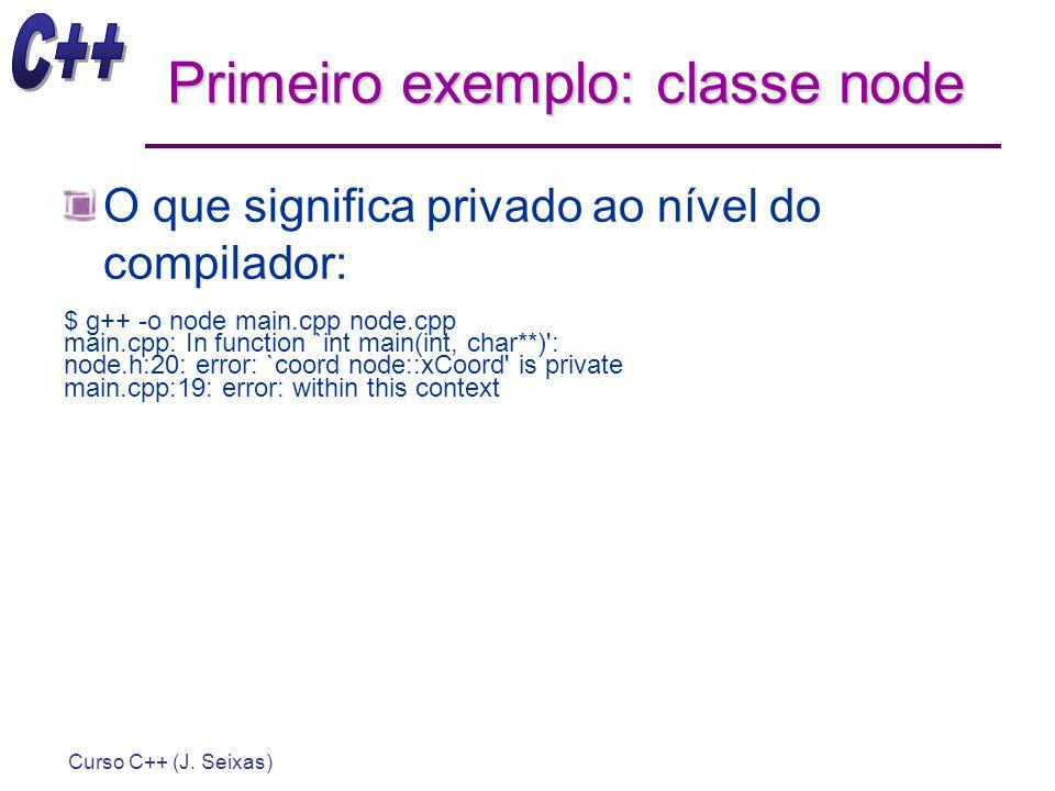 Curso C++ (J. Seixas) Primeiro exemplo: classe node O que significa privado ao nível do compilador: $ g++ -o node main.cpp node.cpp main.cpp: In funct