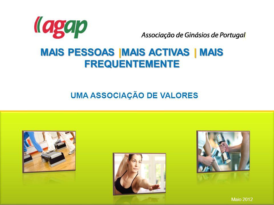 MAIS PESSOAS |MAIS ACTIVAS | MAIS FREQUENTEMENTE Maio 2012 UMA ASSOCIAÇÃO DE VALORES