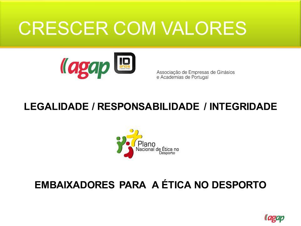 CRESCER COM VALORES LEGALIDADE / RESPONSABILIDADE / INTEGRIDADE EMBAIXADORES PARA A ÉTICA NO DESPORTO