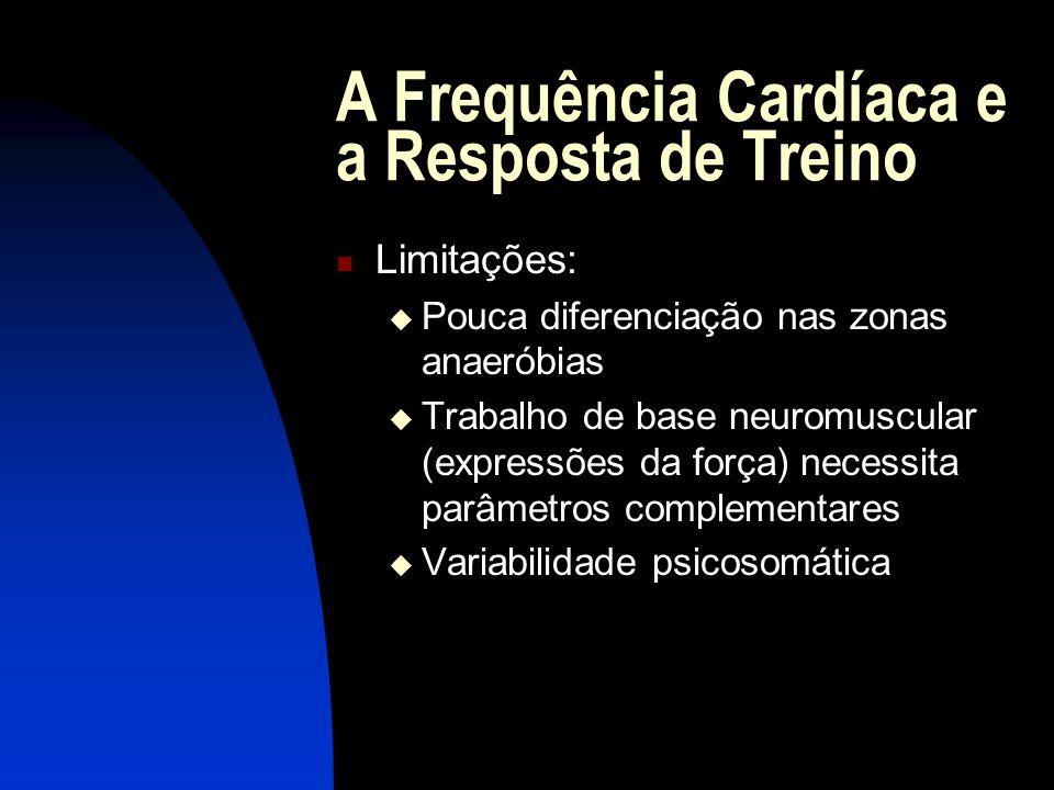A Frequência Cardíaca e a Resposta de Treino Limitações: Pouca diferenciação nas zonas anaeróbias Trabalho de base neuromuscular (expressões da força)