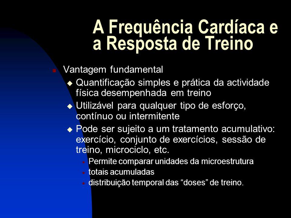 A Frequência Cardíaca e a Resposta de Treino Vantagem fundamental Quantificação simples e prática da actividade física desempenhada em treino Utilizáv