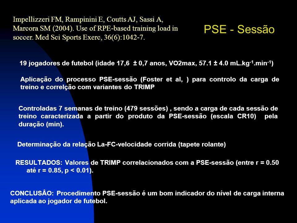 RESULTADOS: Valores de TRIMP correlacionados com a PSE-sessão (entre r = 0.50 até r = 0.85, p < 0.01). Impellizzeri FM, Rampinini E, Coutts AJ, Sassi
