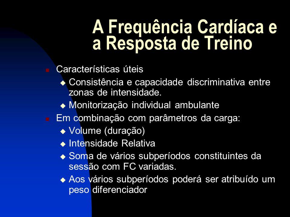 A Frequência Cardíaca e a Resposta de Treino Limitações: Pouca diferenciação nas zonas anaeróbias Trabalho de base neuromuscular (expressões da força) necessita parâmetros complementares Variabilidade psicosomática