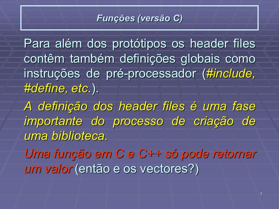 3 Funções (versão C) Para além dos protótipos os header files contêm também definições globais como instruções de pré-processador (#include, #define, etc.).