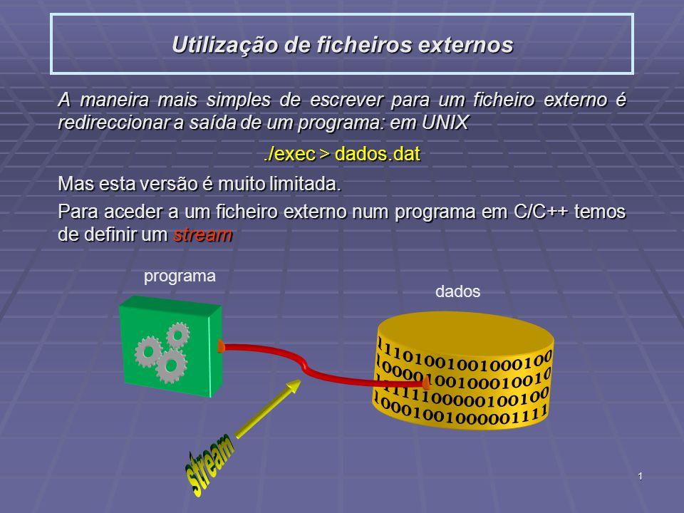 2 Streams por defeito no C++: cout : ecrã cout : ecrã cin : teclado cin : teclado cerr : ecrã, mesmo se a saída tiver sido redireccionada cerr : ecrã, mesmo se a saída tiver sido redireccionadaTipos: ifstream : leitura ifstream : leitura ofstream : escrita ofstream : escrita fstream : escrita ou leitura fstream : escrita ou leitura Abertura para leitura e escrita: Em C++: fstream InOut(RW.dat, fstream::in   fstream::out ); Em C++: fstream InOut(RW.dat, fstream::in   fstream::out ); Em C: InOut=fopen(RW.dat, r+); Em C: InOut=fopen(RW.dat, r+); Utilização de ficheiros externos