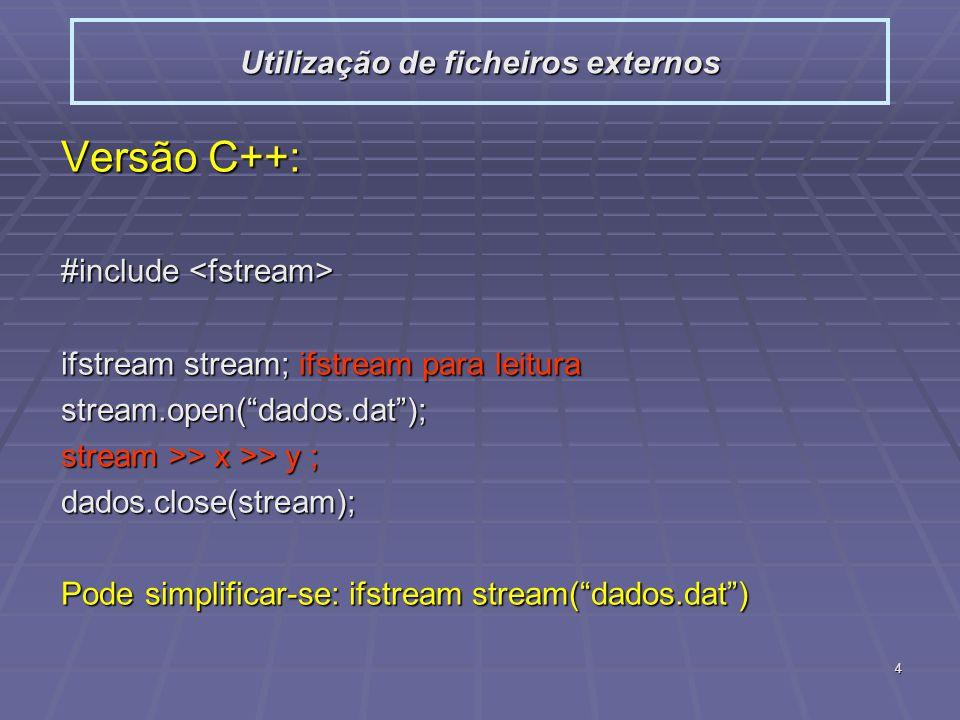 5 Comparação C++/C: Utilização de ficheiros externos #include #include using namespace std; int main(){ int i1, i2; ifstream dados( dados.dat ); if(dados.bad()){ cerr << Impossivel ler o ficheiro << endl; exit(1);} while( dados >> i1 >> i2, !dados.eof() ) cout << i1 << << i2 << endl; cout << i1 << << i2 << endl; return 0; } #include #include int main(){ int i1, i2; FILE *dados; if( !(dados = fopen( dados.dat , rt ) ) ){ fprintf(stderr, Impossivel ler o ficheiro\n ); exit(1);} while( (fscanf(dados, %d %d , &i1, &i2 )) != EOF ) printf( %d %d\n , i1, i2); printf( %d %d\n , i1, i2); return 0; }