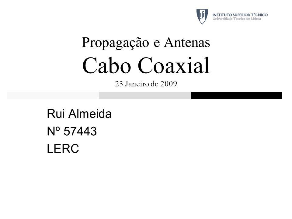 Propagação e Antenas Cabo Coaxial 23 Janeiro de 2009 Rui Almeida Nº 57443 LERC