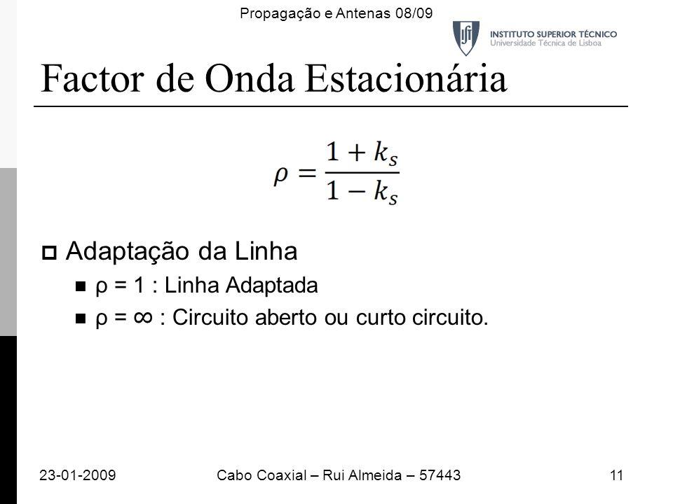 Adaptação da Linha ρ = 1 : Linha Adaptada ρ = : Circuito aberto ou curto circuito. Factor de Onda Estacionária 23-01-200911Cabo Coaxial – Rui Almeida
