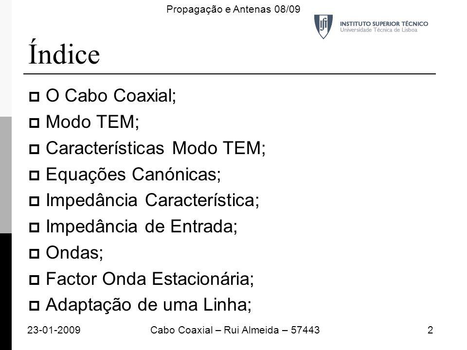 Índice O Cabo Coaxial; Modo TEM; Características Modo TEM; Equações Canónicas; Impedância Característica; Impedância de Entrada; Ondas; Factor Onda Es