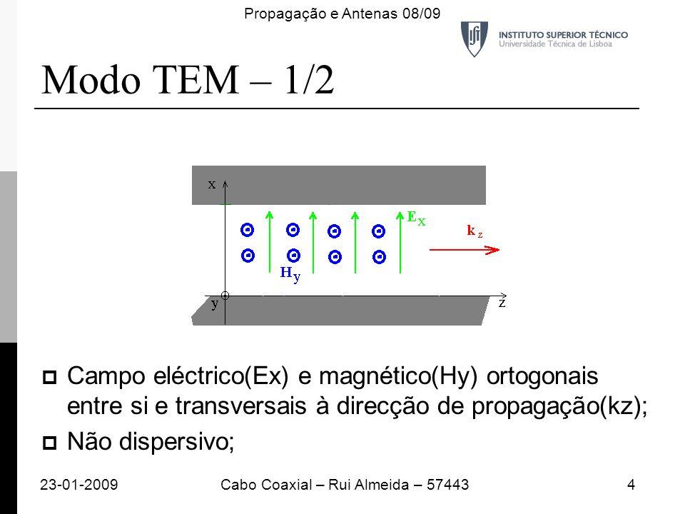 Modo TEM – 1/2 Campo eléctrico(Ex) e magnético(Hy) ortogonais entre si e transversais à direcção de propagação(kz); Não dispersivo; 23-01-20094Cabo Co