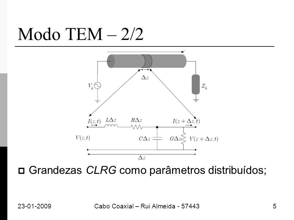 Modo TEM – 2/2 Grandezas CLRG como parâmetros distribuídos; 23-01-2009Cabo Coaxial – Rui Almeida - 574435