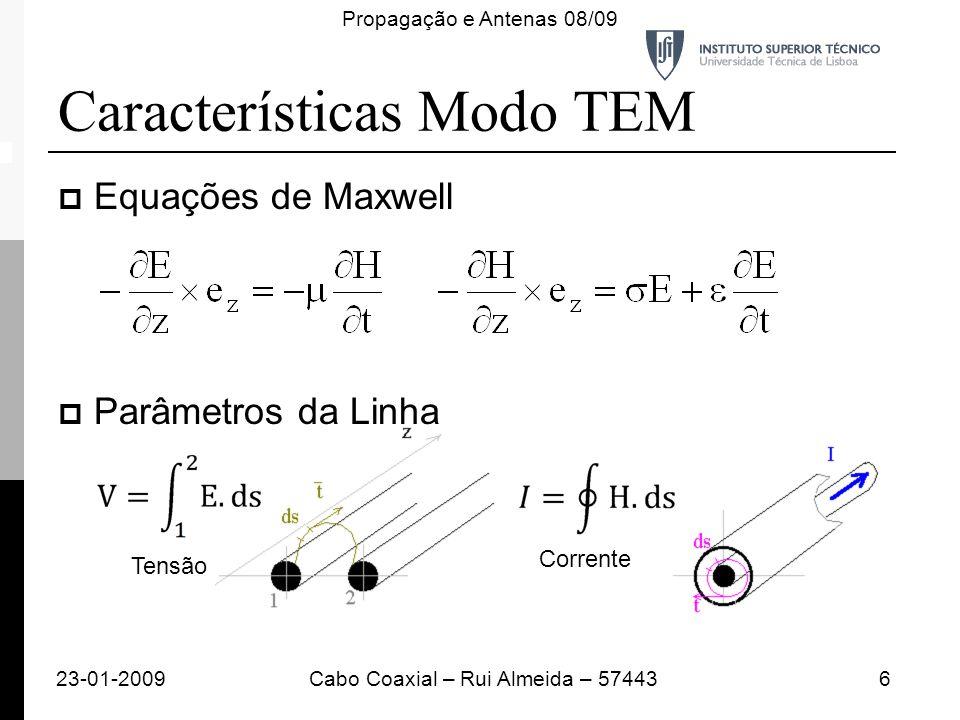 Características Modo TEM Equações de Maxwell Parâmetros da Linha 23-01-20096Cabo Coaxial – Rui Almeida – 57443 Propagação e Antenas 08/09 Tensão Corre