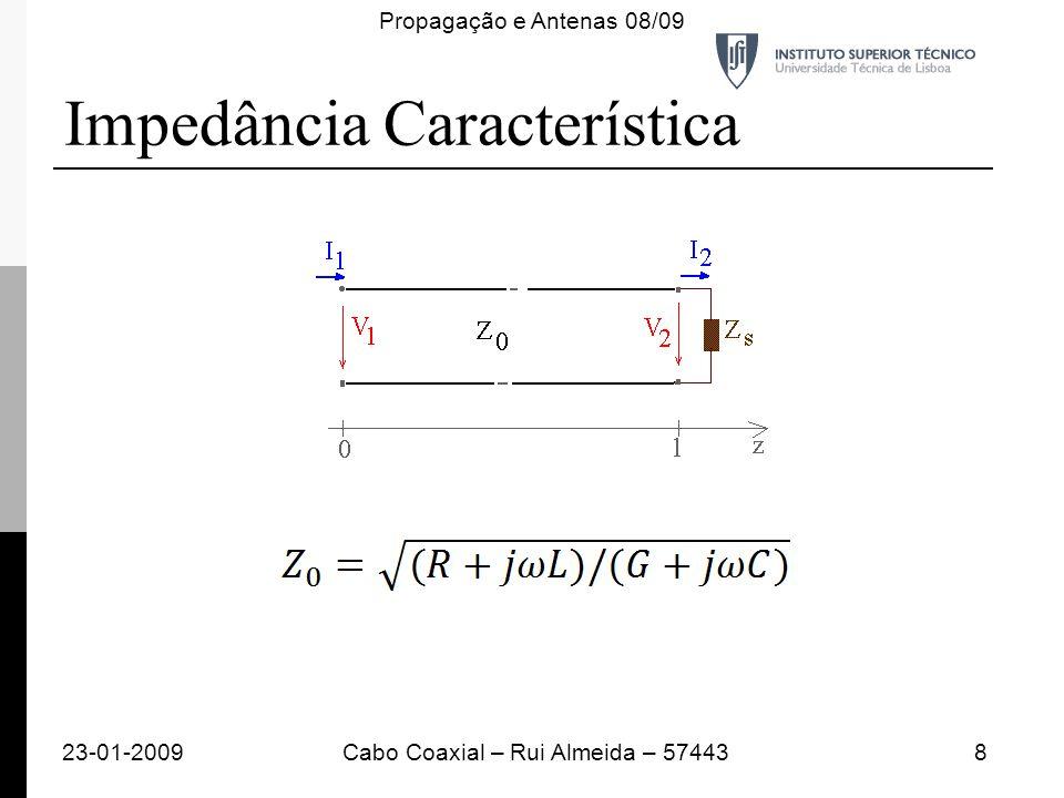 Impedância Característica 23-01-20098Cabo Coaxial – Rui Almeida – 57443 Propagação e Antenas 08/09