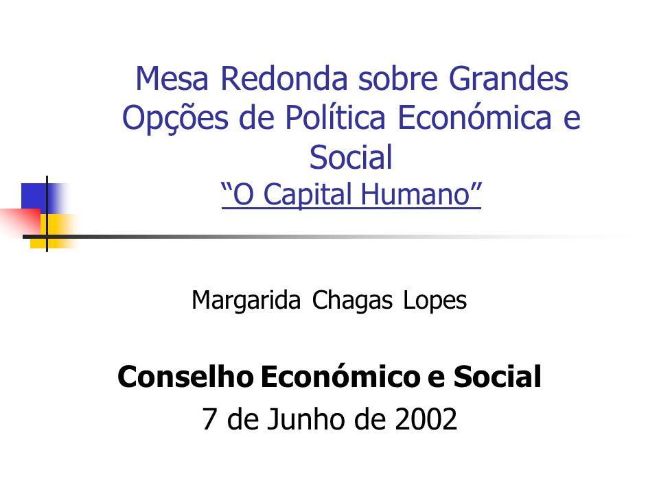 Mesa Redonda sobre Grandes Opções de Política Económica e Social O Capital Humano Margarida Chagas Lopes Conselho Económico e Social 7 de Junho de 2002