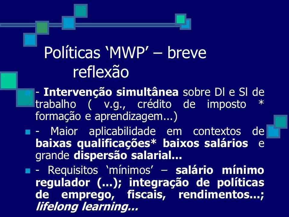 Políticas MWP – breve reflexão - Intervenção simultânea sobre Dl e Sl de trabalho ( v.g., crédito de imposto * formação e aprendizagem...) - Maior apl