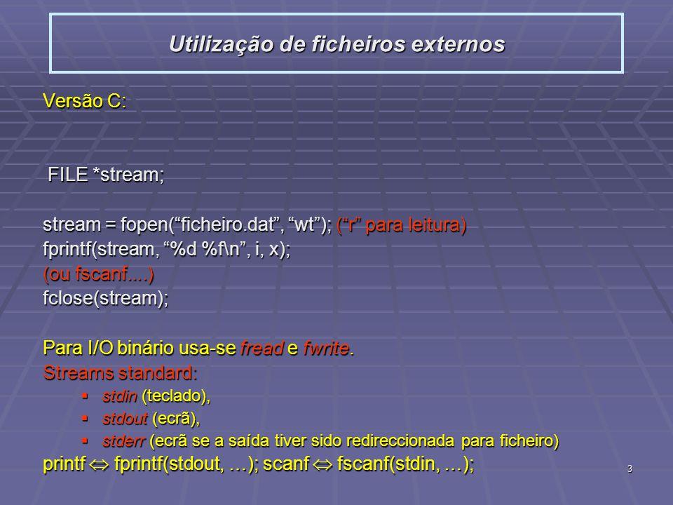 3 Versão C: FILE *stream; FILE *stream; stream = fopen(ficheiro.dat, wt); (r para leitura) fprintf(stream, %d %f\n, i, x); (ou fscanf....) fclose(stre
