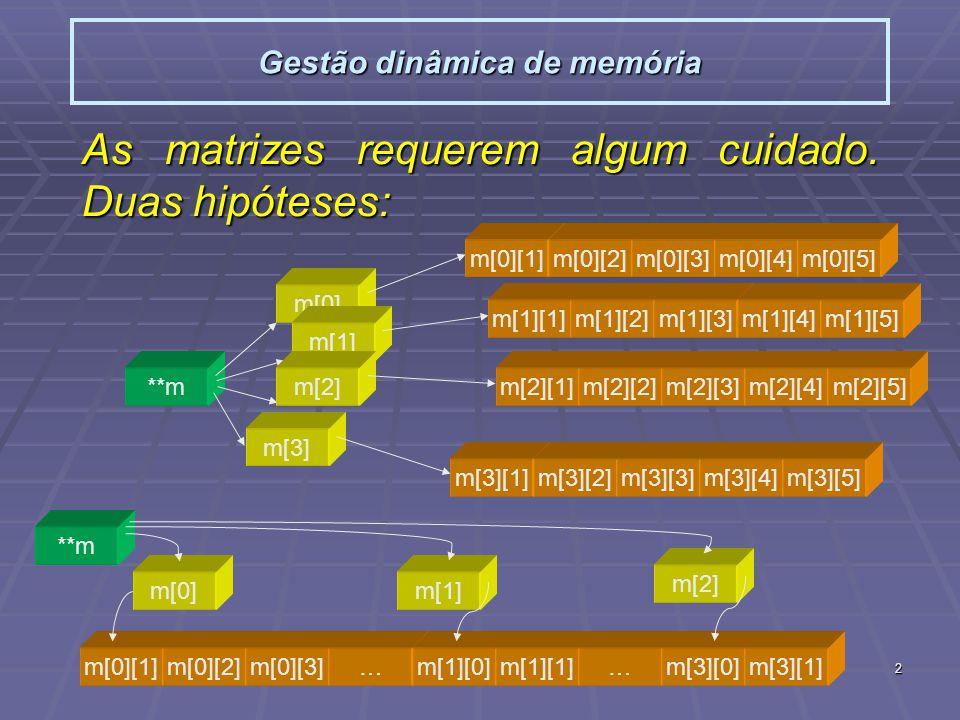 2 Gestão dinâmica de memória As matrizes requerem algum cuidado. Duas hipóteses: **m m[0] m[1] m[2] m[3] m[0][1]m[0][2]m[0][3]m[0][4]m[0][5] m[1][1]m[