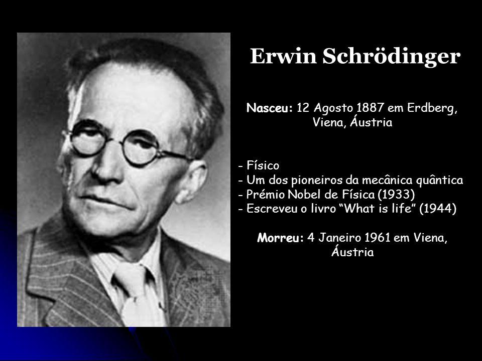 Erwin Schrödinger Nasceu: 12 Agosto 1887 em Erdberg, Viena, Áustria - Físico - Um dos pioneiros da mecânica quântica - Prémio Nobel de Física (1933) -