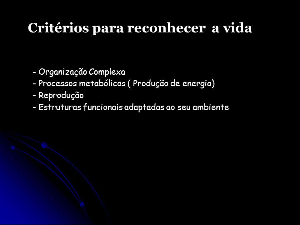 - Organização Complexa - Processos metabólicos ( Produção de energia) - Reprodução - Estruturas funcionais adaptadas ao seu ambiente Critérios para re