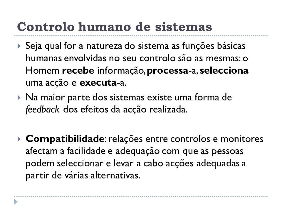Controlo humano de sistemas Seja qual for a natureza do sistema as funções básicas humanas envolvidas no seu controlo são as mesmas: o Homem recebe in