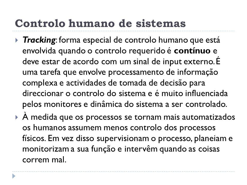 Controlo humano de sistemas Tracking: forma especial de controlo humano que está envolvida quando o controlo requerido é contínuo e deve estar de acor