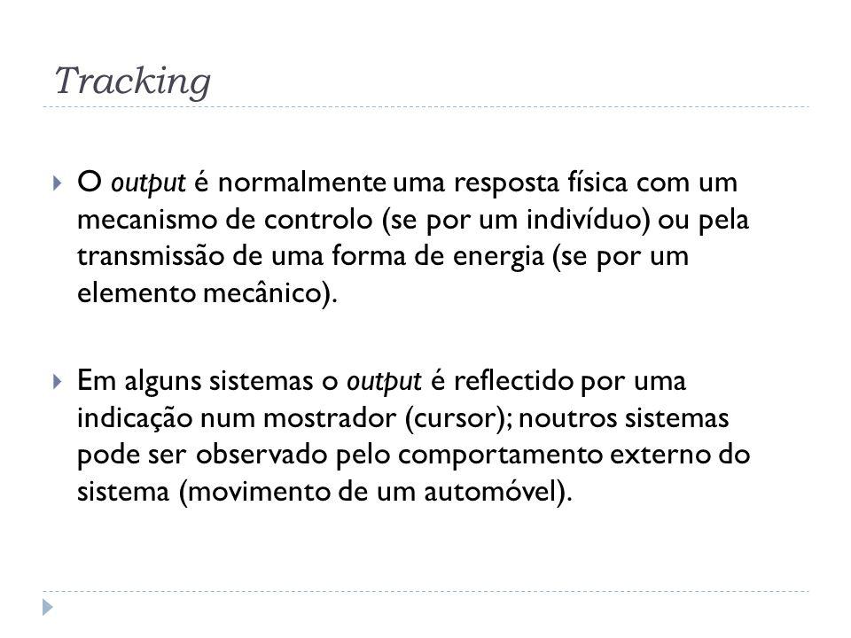 Tracking O output é normalmente uma resposta física com um mecanismo de controlo (se por um indivíduo) ou pela transmissão de uma forma de energia (se