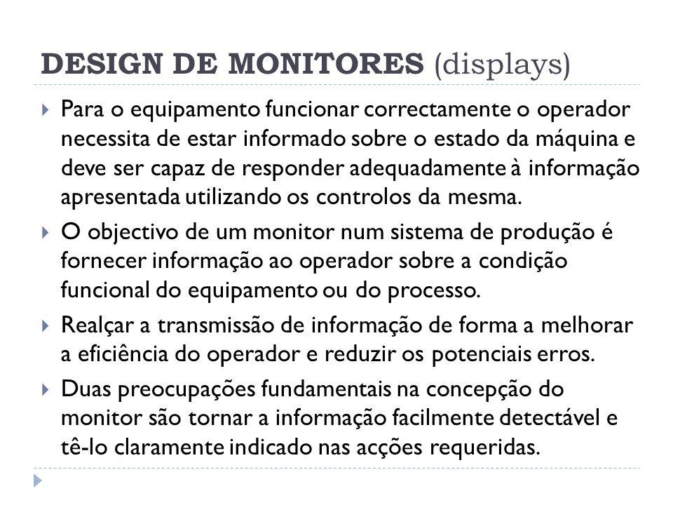 DESIGN DE MONITORES (displays) Para o equipamento funcionar correctamente o operador necessita de estar informado sobre o estado da máquina e deve ser