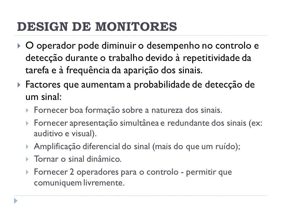 DESIGN DE MONITORES O operador pode diminuir o desempenho no controlo e detecção durante o trabalho devido à repetitividade da tarefa e à frequência d