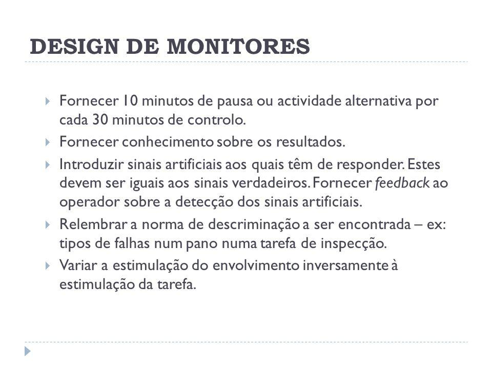 DESIGN DE MONITORES Fornecer 10 minutos de pausa ou actividade alternativa por cada 30 minutos de controlo. Fornecer conhecimento sobre os resultados.