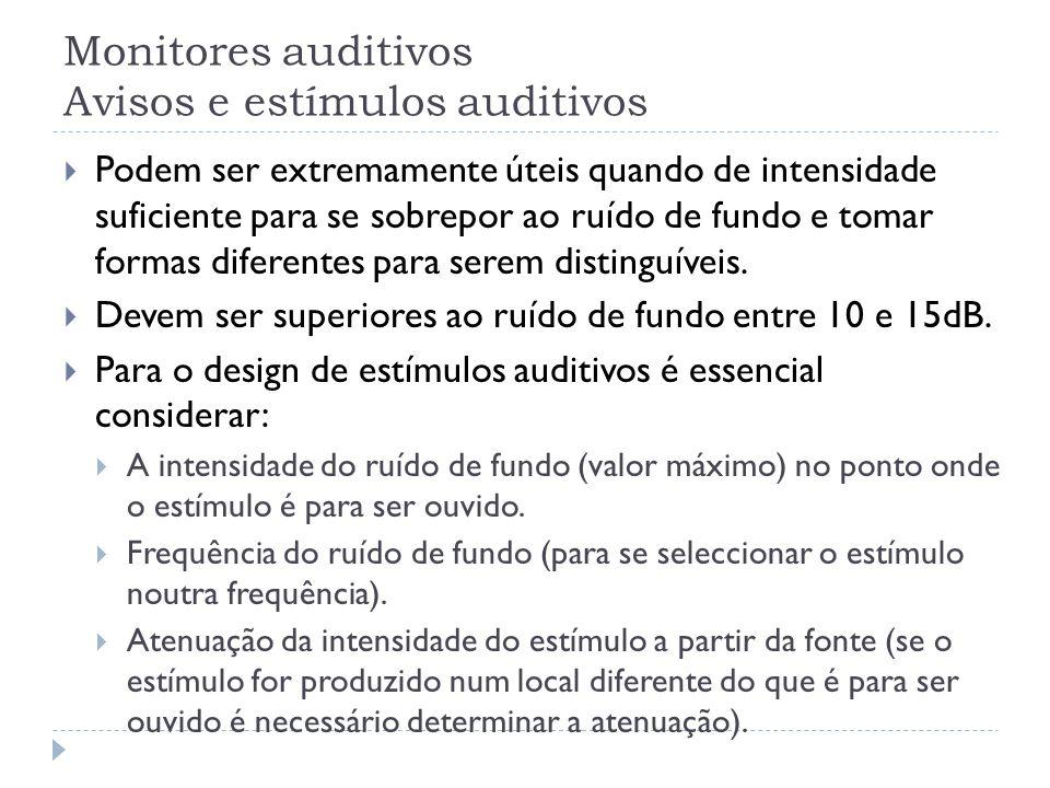 Monitores auditivos Avisos e estímulos auditivos Podem ser extremamente úteis quando de intensidade suficiente para se sobrepor ao ruído de fundo e to