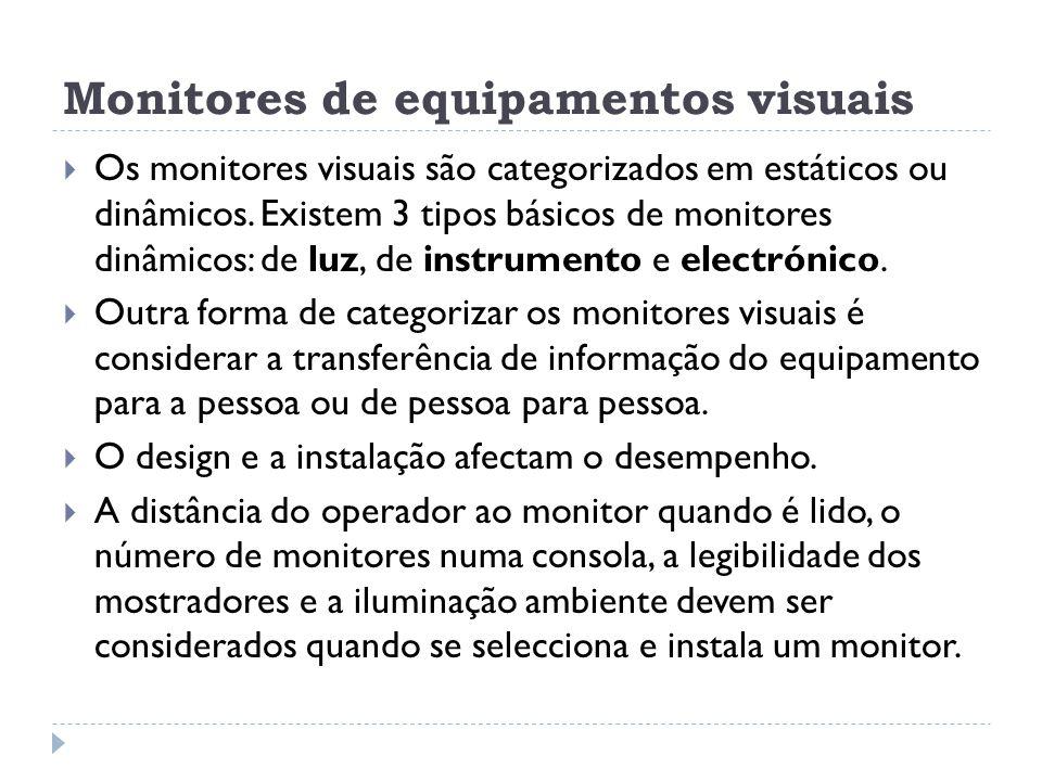 Monitores de equipamentos visuais Os monitores visuais são categorizados em estáticos ou dinâmicos. Existem 3 tipos básicos de monitores dinâmicos: de
