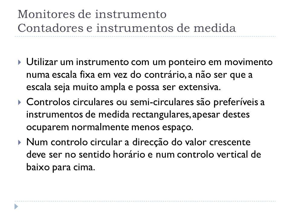 Monitores de instrumento Contadores e instrumentos de medida Utilizar um instrumento com um ponteiro em movimento numa escala fixa em vez do contrário