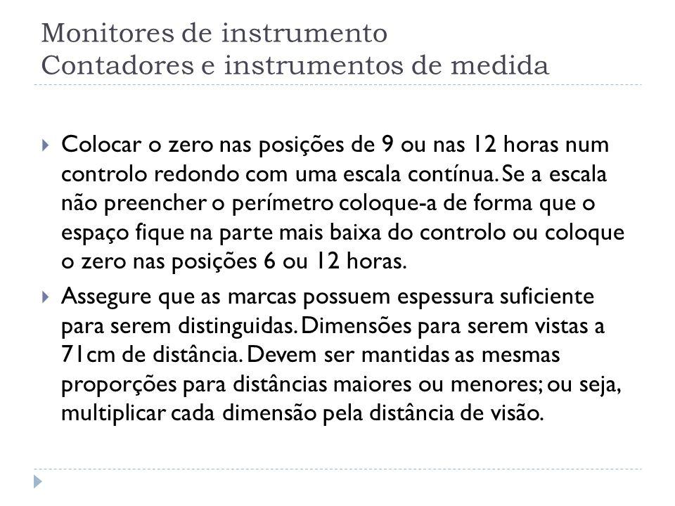 Monitores de instrumento Contadores e instrumentos de medida Colocar o zero nas posições de 9 ou nas 12 horas num controlo redondo com uma escala cont