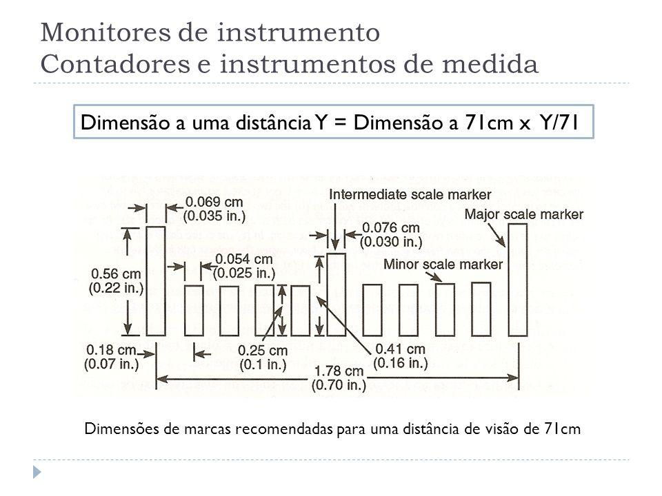 Monitores de instrumento Contadores e instrumentos de medida Dimensões de marcas recomendadas para uma distância de visão de 71cm Dimensão a uma distâ