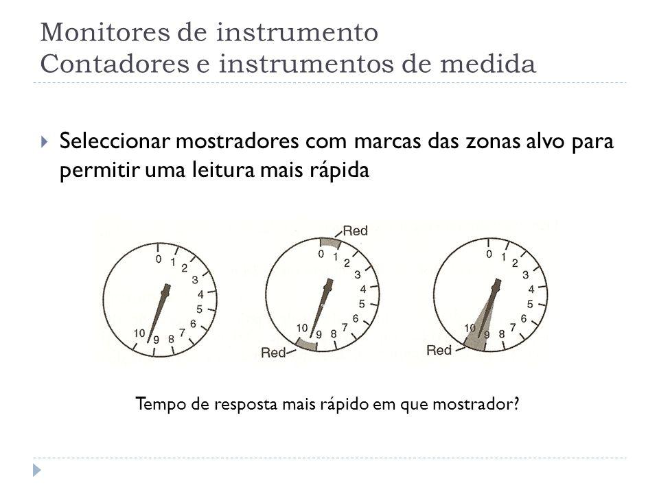 Monitores de instrumento Contadores e instrumentos de medida Seleccionar mostradores com marcas das zonas alvo para permitir uma leitura mais rápida T