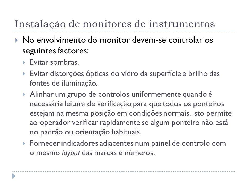 Instalação de monitores de instrumentos No envolvimento do monitor devem-se controlar os seguintes factores: Evitar sombras. Evitar distorções ópticas