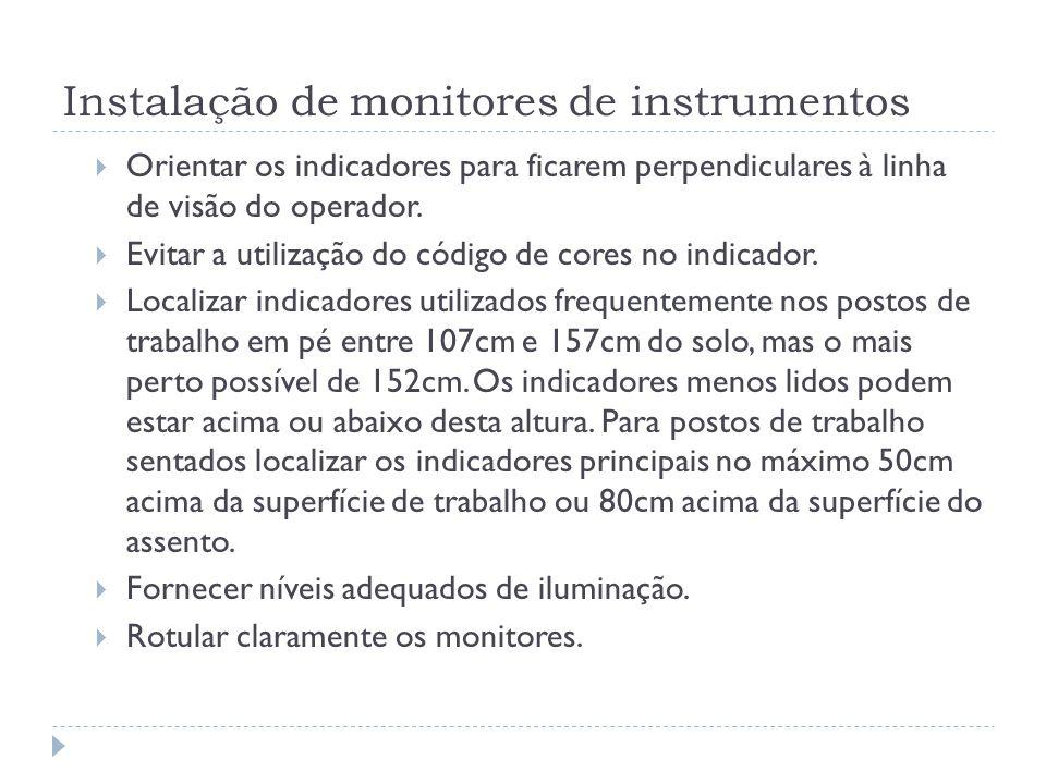 Instalação de monitores de instrumentos Orientar os indicadores para ficarem perpendiculares à linha de visão do operador. Evitar a utilização do códi
