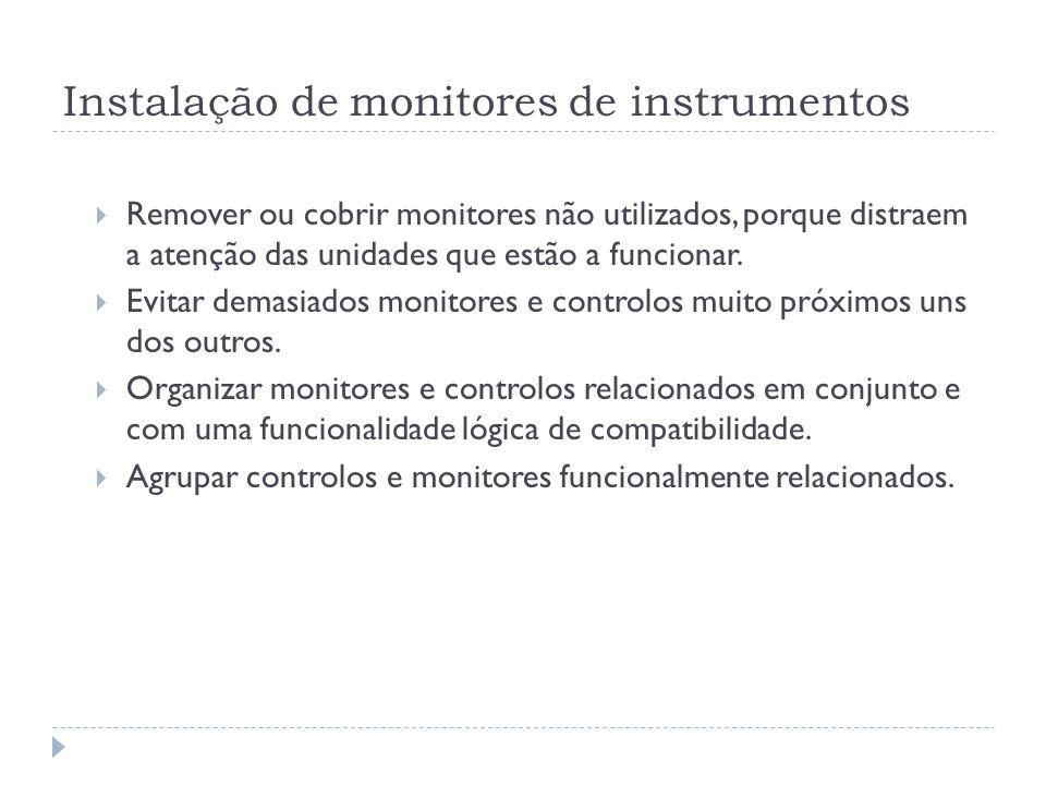 Instalação de monitores de instrumentos Remover ou cobrir monitores não utilizados, porque distraem a atenção das unidades que estão a funcionar. Evit